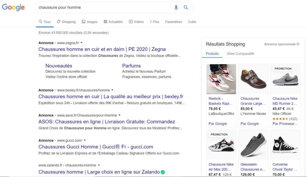 Google Shopping with Men's Shoe Query