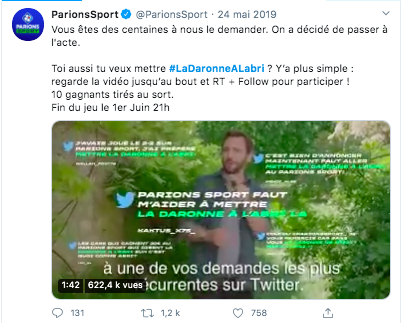 Campagne marketing Twitter de Parions Sport