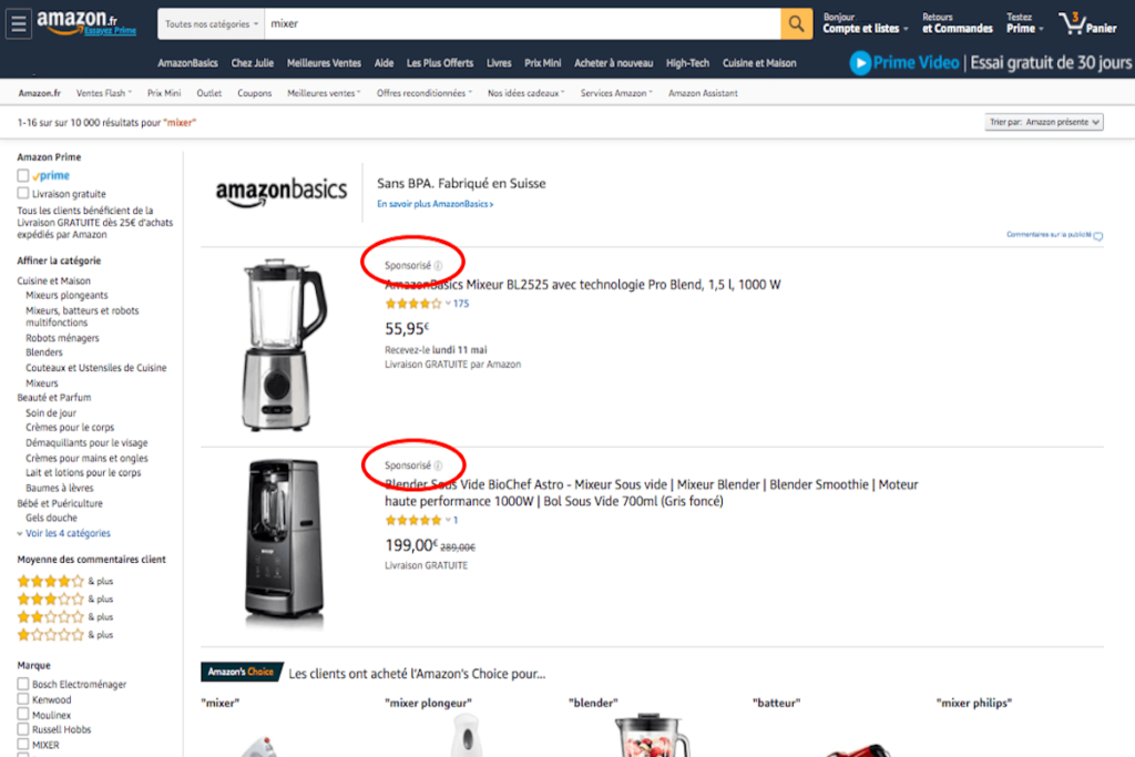 Example of Amazon Sponsored Products Ads